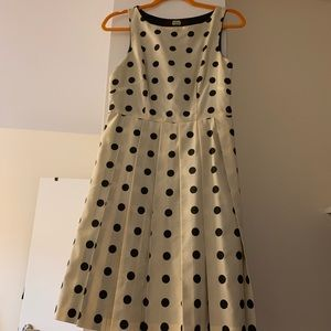 Eva Franco cream and black polka dot fit and flare